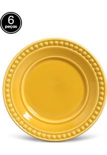 Conjunto De Pratos De Sobremesa Porto Brasil Atenas 6Pçs Amarelo