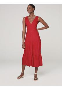 Vestido Midi Com Babado - Vermelho