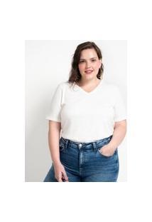 Blusa Básica Em Algodão Com Gola V Curve & Plus Size Branco
