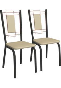 Kit 2 Cadeiras Florença Preto Fosco E Nude 2C078Pfr-16 Crome