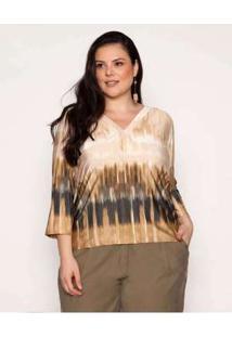Blusa Almaria Plus Size Pianeta Tie Dye Areia Bege