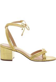 Sandália Block Heel Lace-Up Golden   Schutz