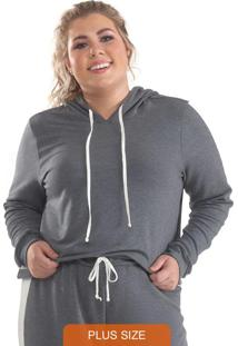 Blusa Plus Size Moletinho Mescla Escuro
