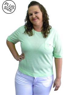 Camiseta Hifen Com Bolso Plus Size Verde