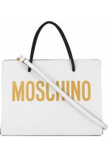 Moschino Bolsa Tote Quadrada Com Logo - Branco