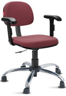 Cadeira Escritório Vermelho Escuro Cromada Com Braços