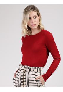Suéter Feminino Básico Em Tricô Decote Redondo Vermelho