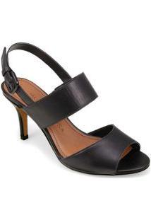 Sandalia Salto Medio Com Fivela Preto