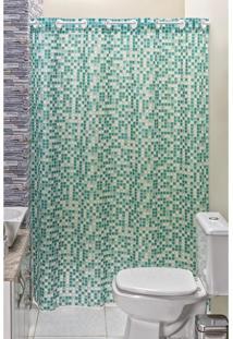 Cortina Box Banheiro Estampada 1,40X1,98M Em Pvc Pastilha
