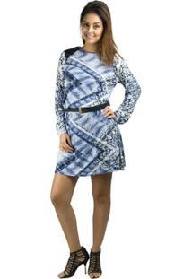 Vestido Banna Hanna Visco Com Detalhe Em Couro Cobra Azul - Feminino-Branco+Azul
