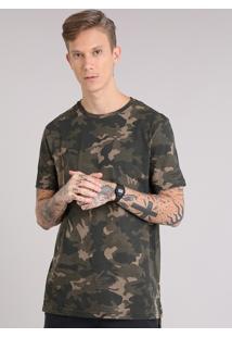 Camiseta Masculina Longa Estampada Camuflada Manga Curta Gola Careca Verde Militar