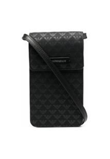 Emporio Armani Leather Crossbody Phone Case - Preto