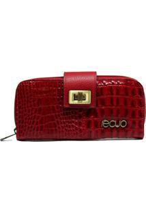 Carteira Em Couro Recuo Fashion Bag Croco Vermelho
