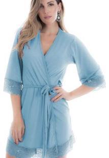 Robe Em Microfibra Feminino - Feminino-Azul