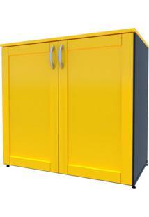Armário De Escritório Oma 2 Pt Preto E Amarelo