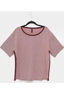 Blusa Maelle Xadrez Listras Laterais Plus Size Feminina - Feminino