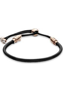 Bracelete Pandora Rose™ Cordão De Couro Preto - 17 Cm