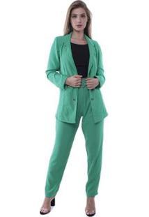 Blazer Pop Me Crepe Alongado Com Botões Feminino - Feminino-Verde