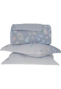 Conjunto De Colcha Papillons King Size- Azul Claro & Azubuddemeyer