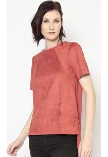 Blusa Aveludada Com Fendas- Vermelha- Colccicolcci
