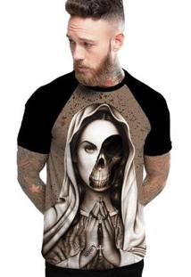 Camiseta Stompy Raglan Modelo 07 Masculina - Masculino-Preto