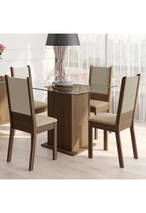 Conjunto Sala De Jantar Madesa Dara Mesa Tampo De Vidro Com 4 Cadeiras Marrom - Tricae