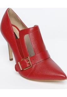 Ankle Boot Em Couro Com Fivela- Vermelha- Salto: 9,5Jorge Bischoff