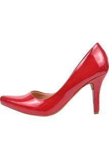 Scarpin Eleganteria Bico Fino Vermelho