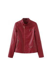 Jaqueta Feminina Annie De Material Ecológico - Vermelha