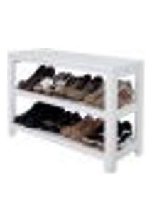 Sapateira Banco   Banqueta De Piso Para Closets E Quartos 8 Pares Sapatos - Branco Laca