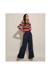Calça Wide Pantalona Jeans Cintura Super Alta Com Lastex