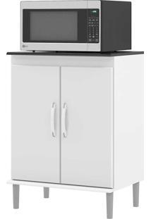 Armário De Cozinha Para Micro-Ondas 2 Portas 01570 Branco/Preto - Ej Móveis