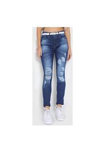 Calça Jeans Lunender Skinny Destroyed Azul-Marinho