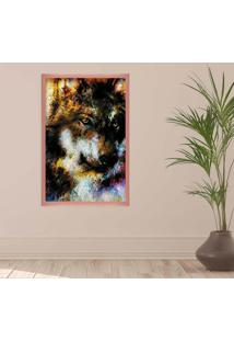 Quadro Love Decor Com Moldura Lobo E Arabescos Rose Metalizado Grande
