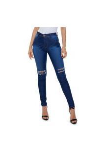 Calça Jeans Unik Skinny Destroyed Feminino Azul Escuro