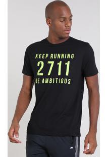 "Camiseta Masculina Esportiva Ace ""Keep Running"" Manga Curta Gola Careca Preta"