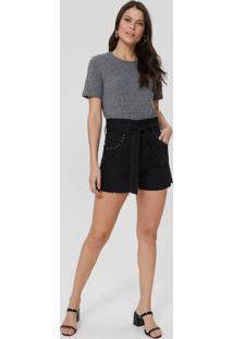 Shorts Jeans Amarração E Aplicação Bolsos