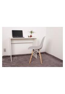 Kit Escrivaninha 90Cm Branca + 01 Cadeira Charles Eames - Cinza