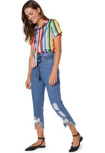 Calça Jeans Reta Cinto Amarração