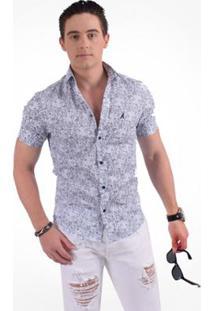 Camisa Horus Social Manga Curta Slim Floral Arabesco - Masculino-Azul