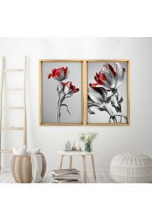 Quadro Love Decor Com Moldura Chanfrada Flores Vermelhas Madeira Clara - Grande