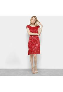 Vestido Lily Fashion Curto Floral Renda - Feminino-Vermelho