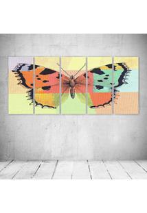 Quadro Decorativo - Butterfly - Composto De 5 Quadros - Multicolorido - Dafiti
