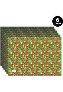 Jogo Americano Mdecore Natal Boneco De Neve 40X28 Cm Verde 6Pçs