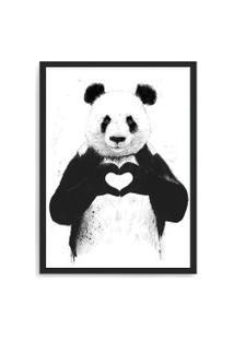 Quadro Decorativo 33X43Cm Nerderia E Lojaria Panda Coracao Preto
