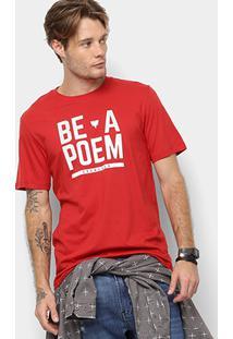 Camiseta Cavalera Estampa Be A Poem Masculina - Masculino-Vermelho Escuro