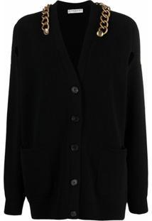 Givenchy Cardigan Com Detalhe De Corrente - Preto