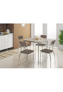 Mesa 1510 Nogueira Cromada Com 4 Cadeiras 1701 Camurça Conhaque Carraro