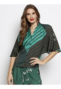 Camisa Com Botãµes & Tag- Verde & Preta- Forumforum