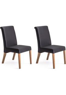 Conjunto Com 2 Cadeiras De Jantar Judite Preto E Imbuia